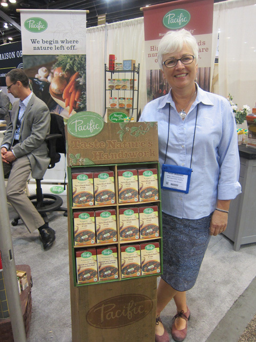 Helen Midwood with the recently launched Organic Spicy Black Bean and Kale Soup from Pacific Foods
