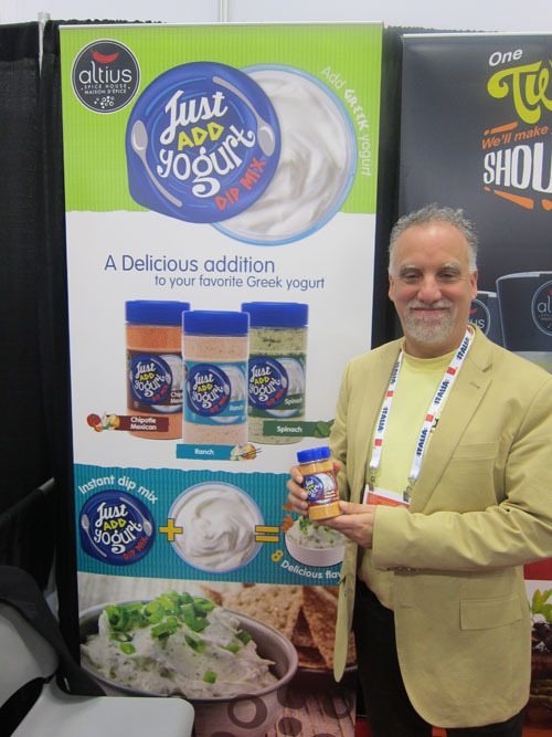 Laurence Bloom with new Just Add Yogurt Dip Mix - Altius Spices + Seasonings