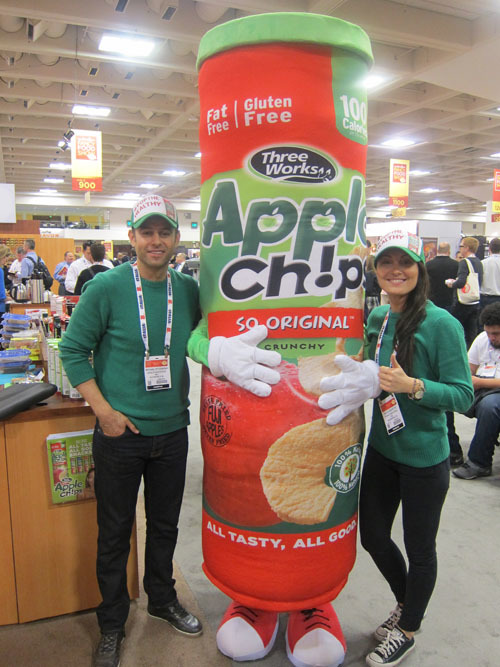 Michael Petcherski and Maya Oczeretko with Apple Chips Mascot - Three Works Snacks