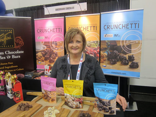 Sheena Quish with new Crunchetti Bites - Brockmann Chocolate