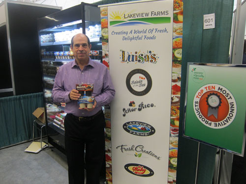 Ernie Williams with one of the show's Top 10 Most Innovative Products - Lakeview Farms
