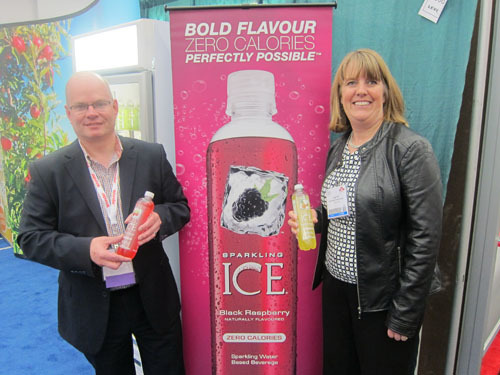 Warren Sarafinchan and Loree Felt with the new Sparkling Ice from SunRype Products
