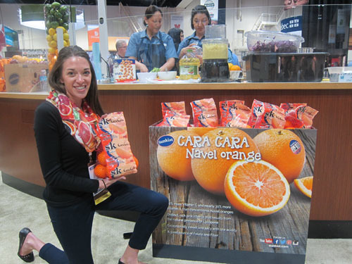 Joan Wickham with the new Cara Cara Display Cases - Sunkist Growers