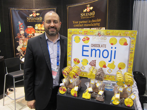 Douglas Liberman with new Emoji Chocolate from Splendi Chocolates