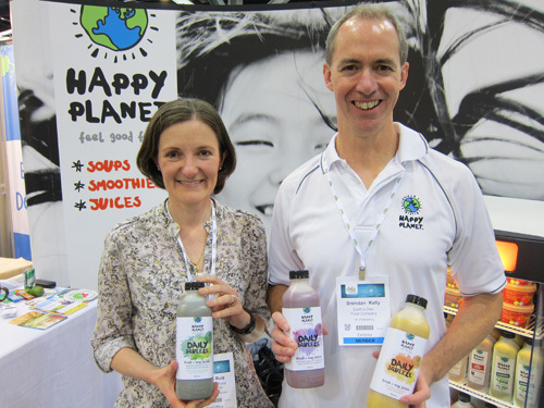 Angela Ruiz and Brendan Kelly with the just launched Daily Squeeze Fruit & Vegetable Juices from Happy Planet