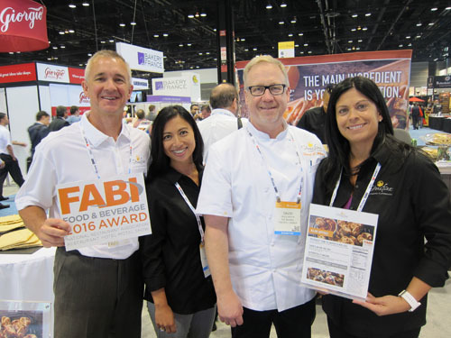 Chip Rowland Maria Staal David White and Natalia Smith with fgf brands FABI Award winning Naan Dippers