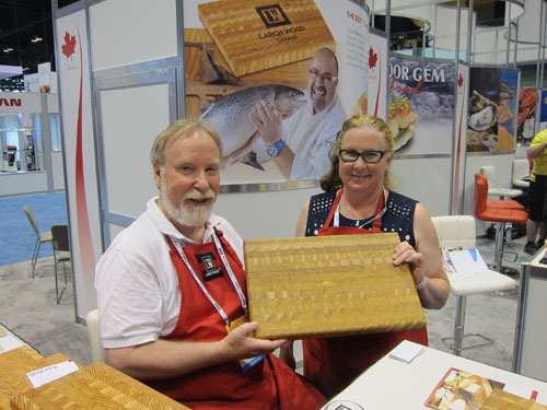 Don Beamish and Kristine McCutcheon with unique Larch Wood Cutting Boards