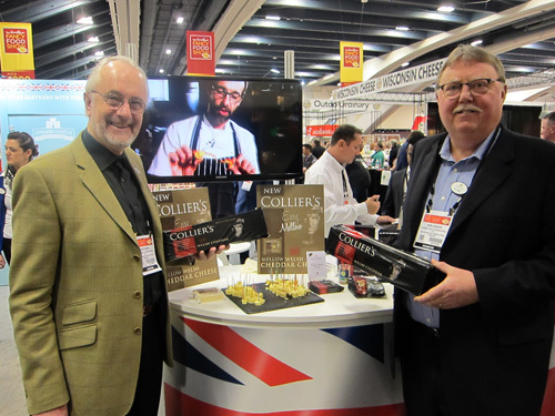 Chris Swire and Ron Sadler with the new Mellow Welsh Cheddar Cheese from Colliers