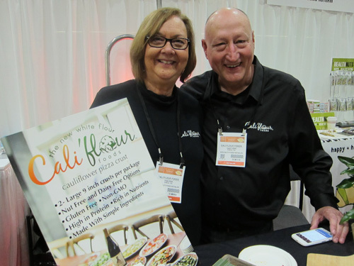 Pam and Gary Zink with the new cauliflower pizza crust from Cali'flour Foods