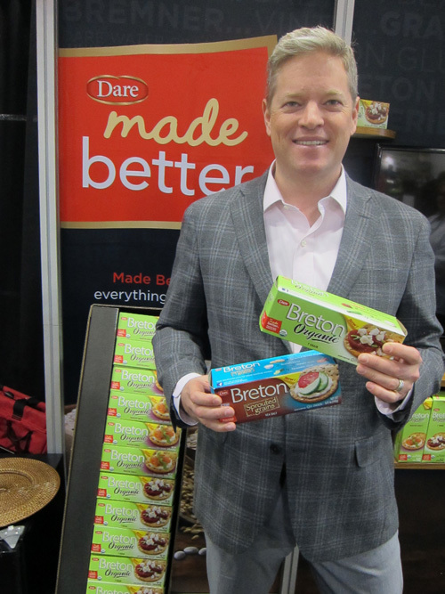Paul Sinden with new Breton Organic 7 Grain Crackers from Dare