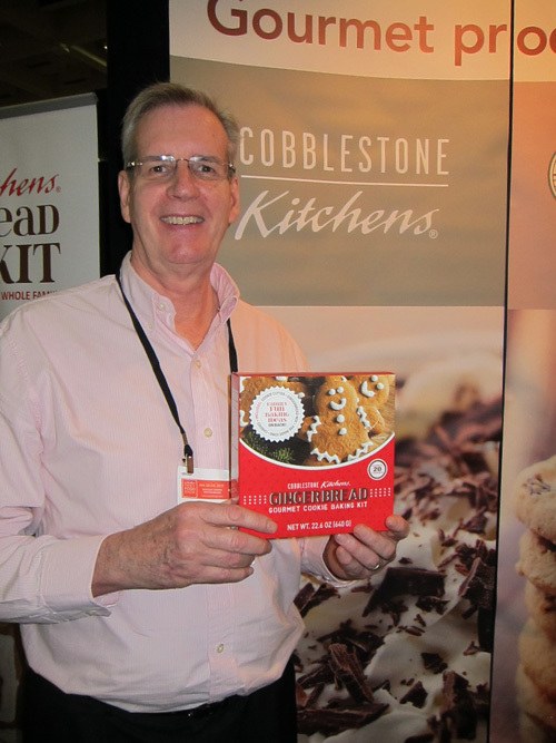 Peter Reid with new Gingerbread Gourmet Cooking Baking Kit from Cobblestone Kitchens
