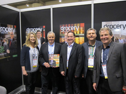 Lori Burns with Jim Waites, Brad Olsen, Michael Reisig and Rick Cook, Overwaitea Food Group