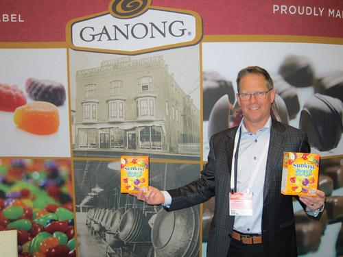 John Burgess, Ganong Bros., with new Sunkist branded treats