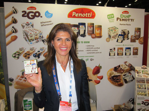 Saloua Peeters with Duo Penotti Portion Paks, distributed by National Importers