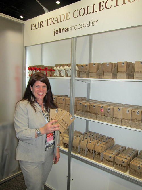 Linda Seiler with Jelina Chocolatier's Fair Trade Chocolate offerings