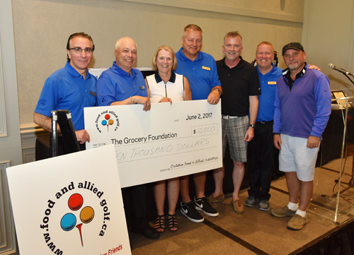 Cheque presentation (from left) Sal Galle, Michael Marinangeli, Michelle Scott, Denis Gendron, Shaun McKenna, Chris Powell, Tom Barlow