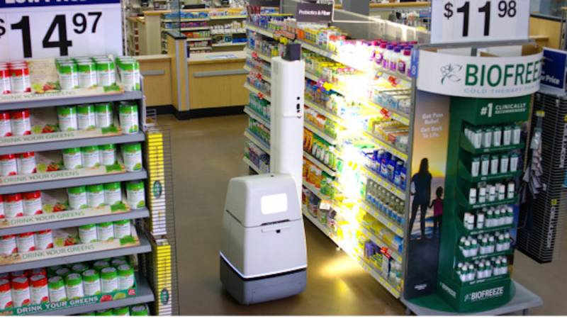 walmart shelf scanning robot image from Reuters