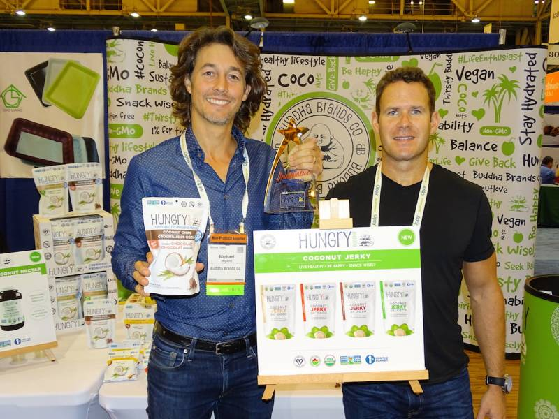 The next big thing for Montreal's Temple Lifestyle is Coconut Jerky, an addition to the Hungry Buddha line. Michael Magnone (left) poses with Mark Cigos.