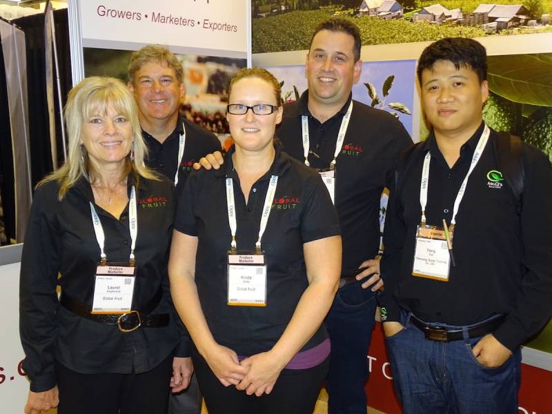 Eric Xiao (far right) of Shenyang Qupai Trading Co (Shenyang, China) poses at PMA with the Global Fruit team (Creston, BC). Left to right: Laurel Angebrandt, Mike Isola, Krista Bailey and Andre Bailey.
