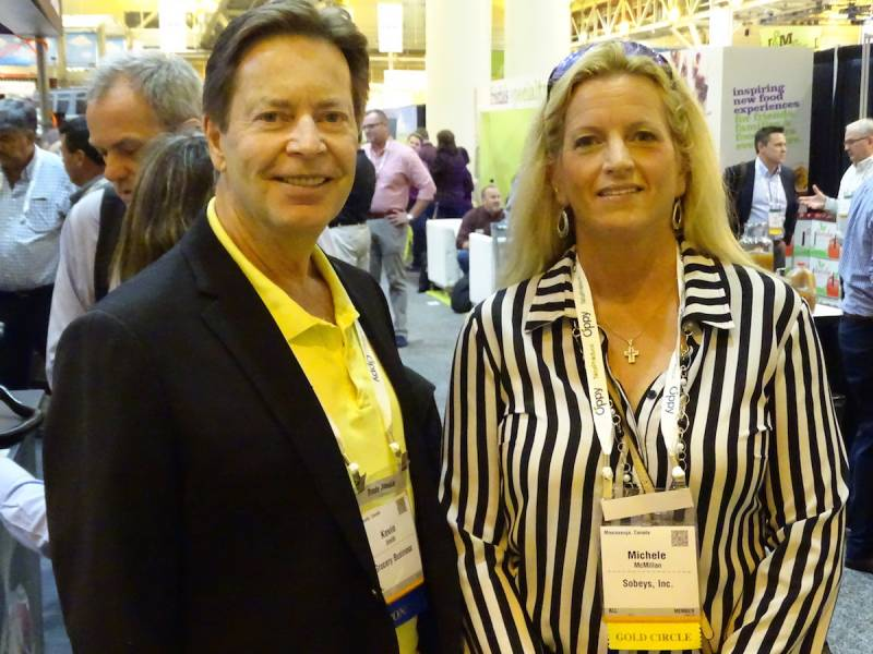 Kevin Smith of Grocery Business Magazine Toronto with Michele McMillan Sobeys Inc. Mississauga ON