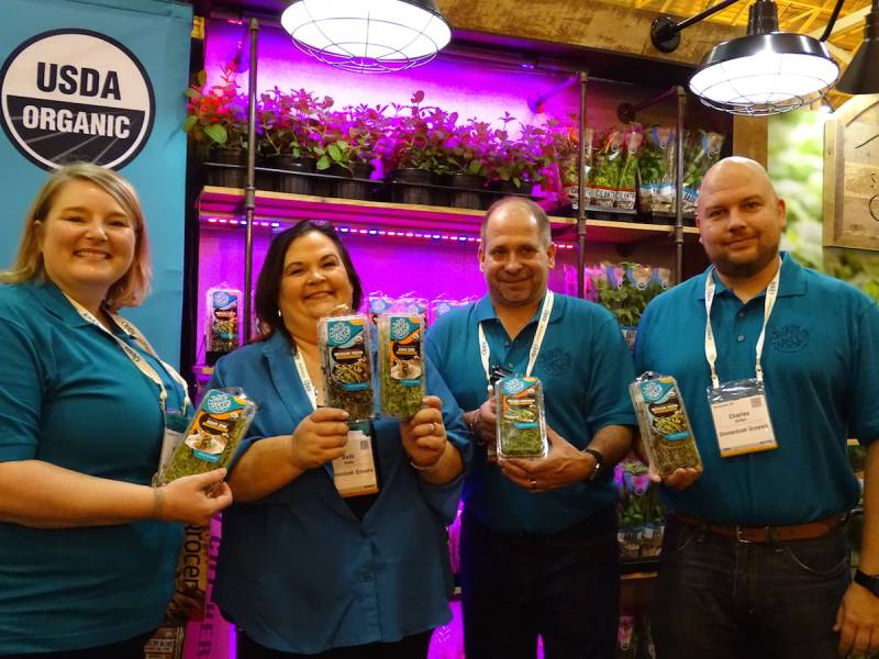Thats Tasty Microgreens from Shenandoah Growers left to right are Nadine Williams Beth Keefe Scott Dault and Charles Griffen