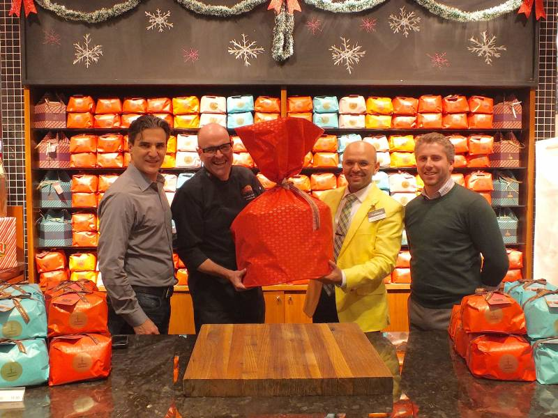 From left: Tony Angelucci, Christian Pritchard, Aurora Importing and Distributing; John Carlo Terceros, Loblaws stroe manager, and Tyler Stevens Loblaw store direct