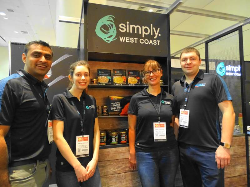 The Simply West Coast seafood products division of Coldfish Seafood Co represented by left to right Zahir Akbanie, Kaitlin Oriecuia, Nina Tyuleneva and Sergey Samotaenkov