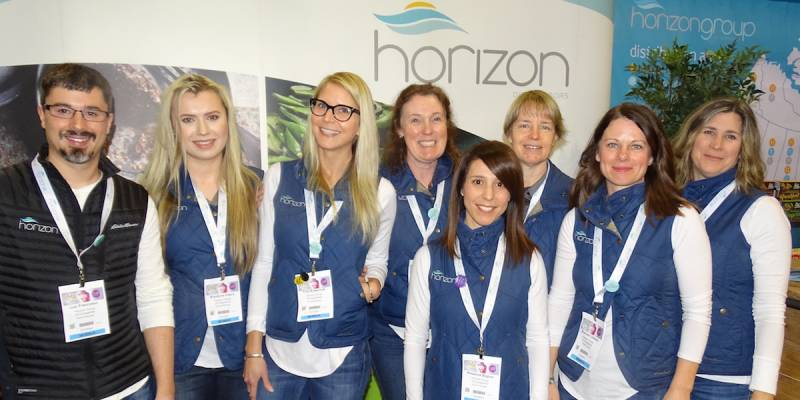 Left to right at the Horizon booth with Luc Francoeur, Krystyna Olipra, Tina Krawchuk, Megan Davies, Rosanna Biglow, Terri Newell, Shannen Lohnes and Kelly Ross