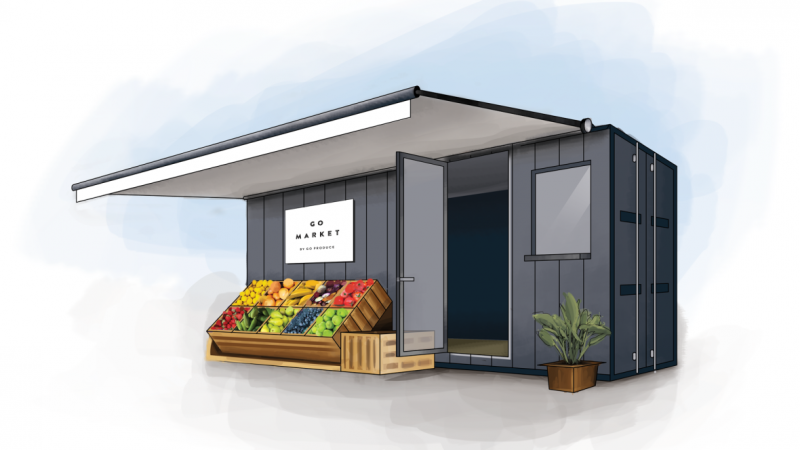 Rendering of Go Produce shipping container grocery story image credit Go Poduce