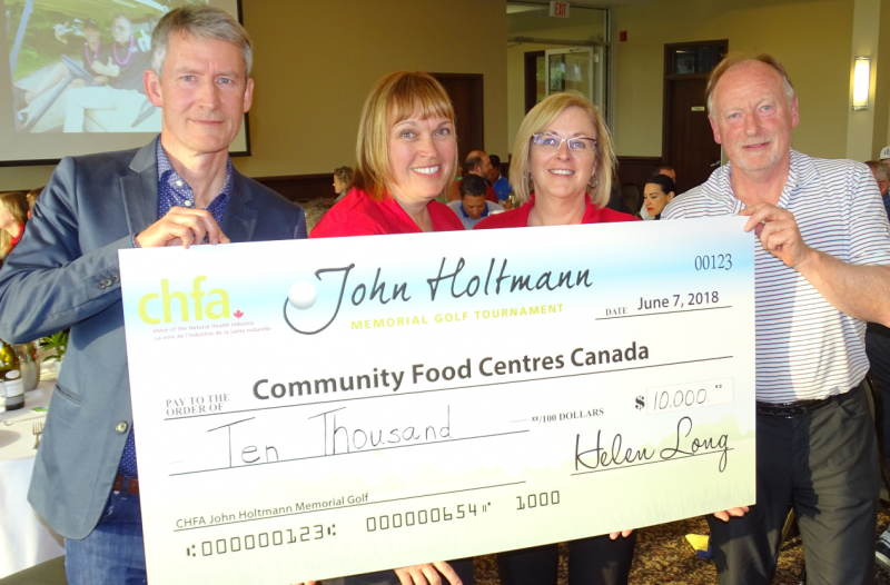 Nick Saul, president and CEO of Community Food Centres Canada, Helen Long, president CHFA, Judy Sharpe, director Trade Shows & Conferences, Don Smith, CHFA board member