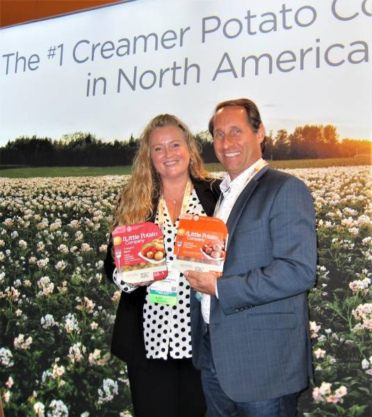 Janet Burton and Richard Vann with new dynamic packaging from the Little Potato Company