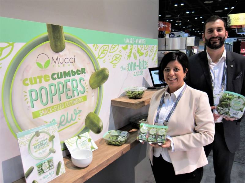 Emily Murracas and Stephen Cowan with new Cute Cumber Poppers from Mucci