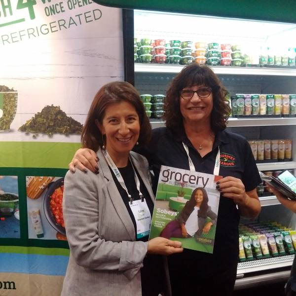 Celine Endler and Colleen Douglas at the Gourmet Garden booth