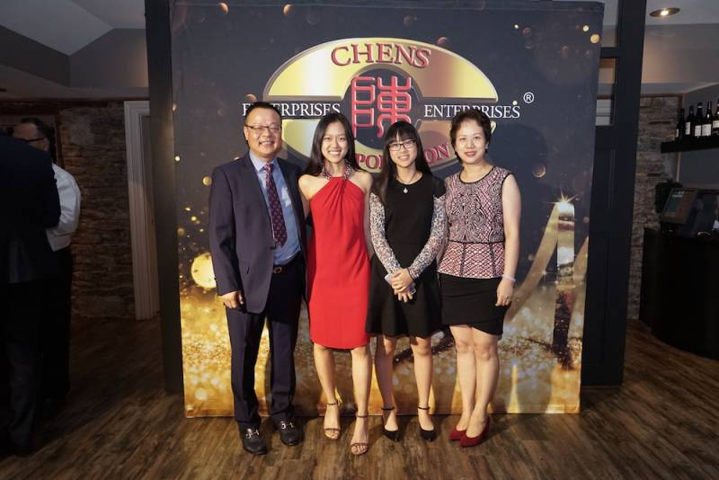 From left Jie Chen, daughters Katherine and Kaitlyn and wife Rong Lin