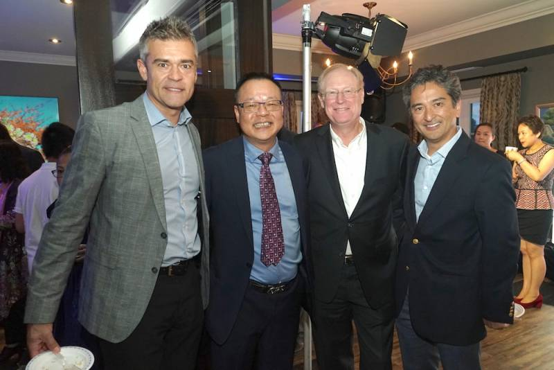 From left Tom Szostok, Campbells, Jie Chen, Tom Shurrie, CFIG and Douglas Ohori, Clover Leaf