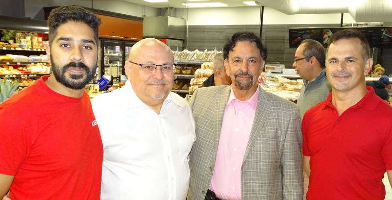 Left to right with part of the Rabba Fine Foods team: Mayank Sharma, Peter Lombardi, Jack Rabba and Frank Nweisser.