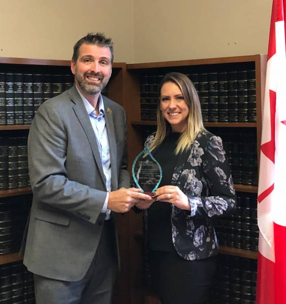 Ron Lemaire and NDP MP Ruth Ellen Brosseau, Produce Champion presentation