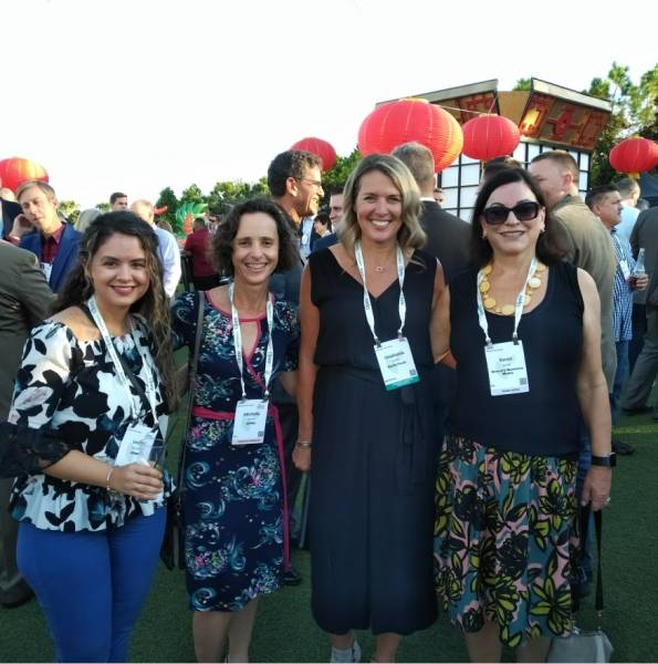 At the opening reception: Emilia De Sousa and Michelle Broom, OPMA, Stephanie Cutaia, Earth Fresh Foods, and Karen James, Grocery Business
