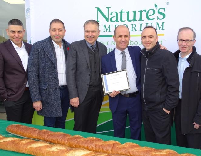 Brian Shifman of the Vaughan Chamber of Commerce (second from the right) joins the Nature's Emporium team of (L-R) Cosimo Tavernese, Nick Tavernese, Joe D'Addario and Guy D'Addario