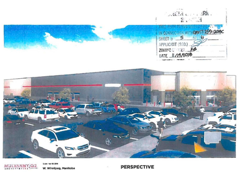 Rendering of the proposed store seems to show a Costco location with the name removed, says the Winnipeg Free Press