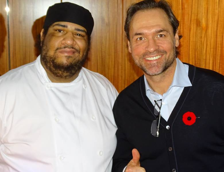 Leafs icon Darcy Tucker with Sobeys chef