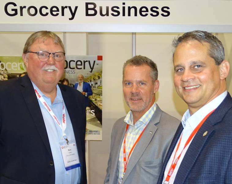 L-R: Ron Sadler of Sadler Sales Solutions with Jamie Nelson of Save on Foods and Brent Battistelli of Battistellis