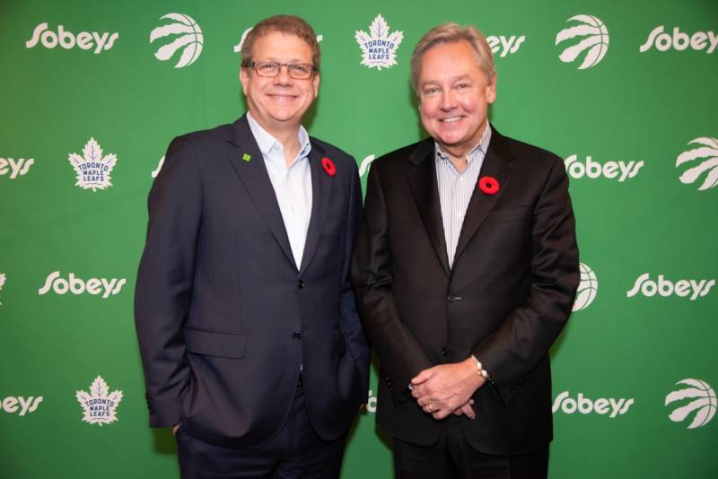 Sobeys president and CEO Michael Medline (left) joins his MLSE counterpart Michael Friisdahl