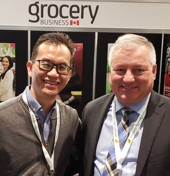 Alex Lum of Buy Low Foods (l) with Denis Gendron of United Grocers