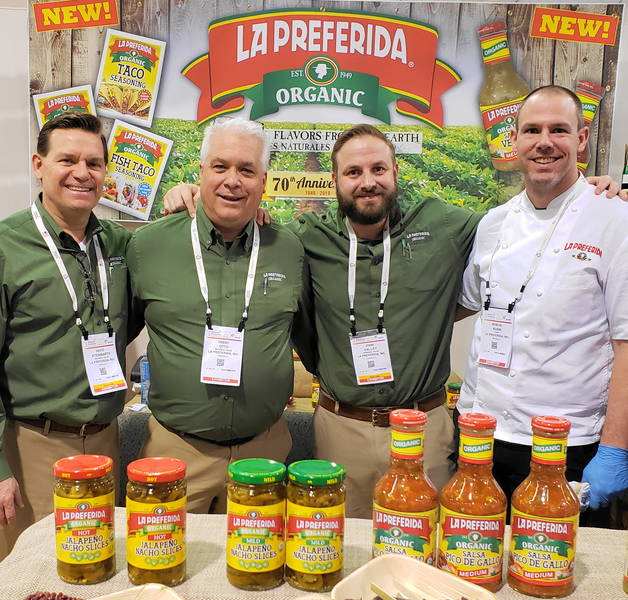 At the La Preferida booth with (l) David Steinbarth, Trent Otto, John Valley and Chef Byron Kuhn