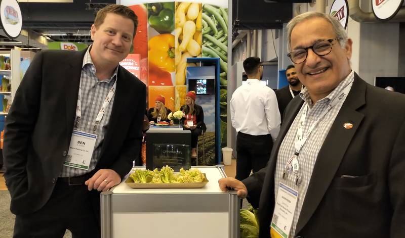 Ben Alviano, Mann Packing and Dennis Christou, Del Monte Fresh with CPMA's Best New Product Award