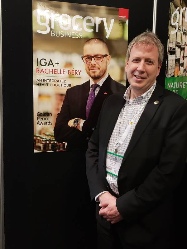Francois Bouchard, GS1 at the Grocery Business booth