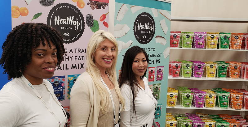 Healthy Crunch Founder Julie Bednarski (c), flanked on the left by Adaobi Umeukeje and Sophie Noeung