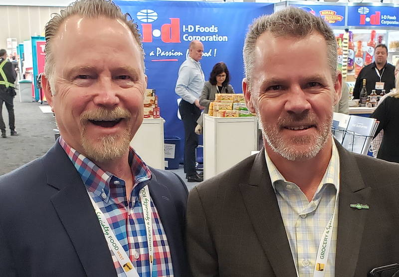 Matt Blixt of Kruger Products (l) with Jamie Nelson of Save-On-Foods
