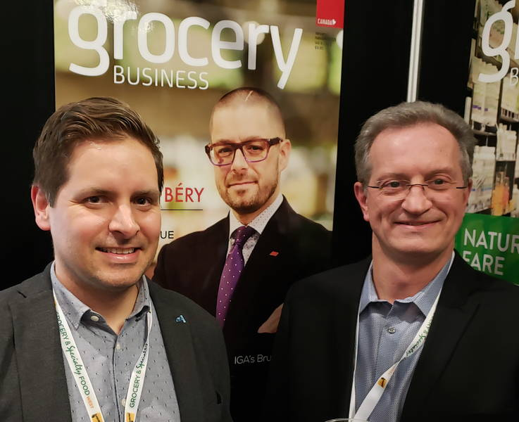 Pierre-Alexandre Blouin (l) with Andre Forget of ADA - Andre is Chairman of the Quebec Food Dealers Association